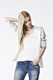 B07 Leather Shoulder Blazer - White/Grey