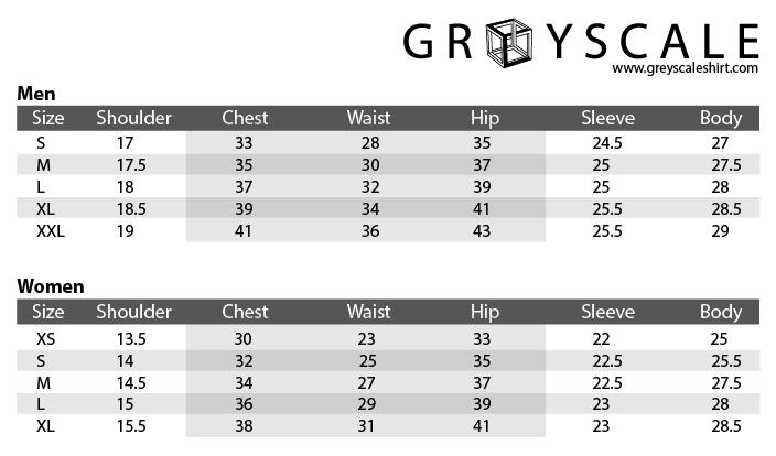 Greyscale Shirts Blazers Size Chart